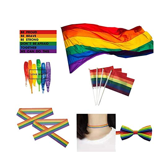 Big LGBT Flag- Rainbow Pride Polyester- Durabol Homosexual LGBT Cylindrical Lesbian for the Day of Pride LGBT Flag Kit Rainbow Symbol Gays, Lesbians, Love is love Parade Flag (love)