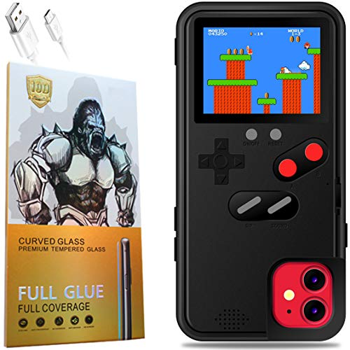 Gameboy Phone Case iPhone 11 with Clear Tempered Glass Screen Protector,Full Color Display 36 Classic Game, Protective Cover Self-Powered, Fully Protect Your iPhone, and Fun (Black)