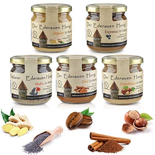Deutscher Honig in 6 verschiedenen Geschmacksrichtungen. Haselnuss Zimt Espresso Ingwer Sanddorn Mohn mit Honig aus der Region. Honiggläser mit jeweils 250gr Honig.