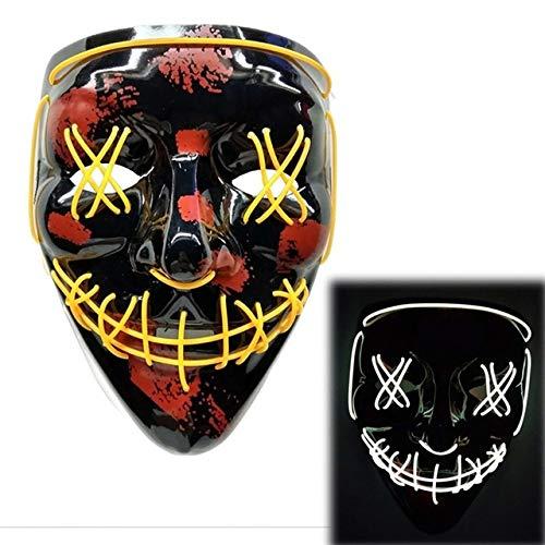 BFMBCHDJ Halloween neon led maske party kostüm purge maske wahl cosplay kostüm führt dj party im dunkeln leuchten a6 one size