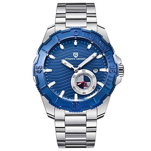 Armbanduhr,Sportmode Herrenmode Wasserdicht Stahlgürtel Mechanische Uhr, Weiße Schale Blaue Oberfläche