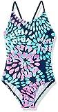 Kanu Surf Girls' Big Beach Sport 1-Piece Swimsuit, Daisy Navy, 8