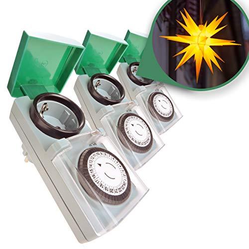 Zeitschaltuhr Aussenbereich 3er Set - Zauberhafter Lichterglanz automatisch geregelt – Zeitschaltuhr Tempo, einfach zu bedienen, besonders robust – Zeitschaltuhr mechanisch, analog, IP44