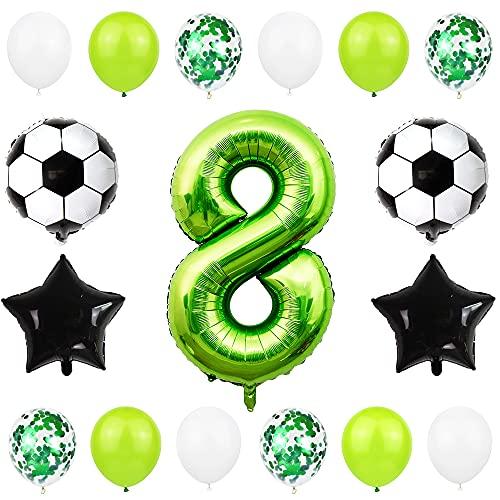 Liitata Fußball Luftballon Set 8. Geburtstag Deko 40 Zoll Zahl 8 Folienballon Grün Fussball Ballon Stern Ballon Schwarz Konfetti Luftballons für Kinder Junge Geburtstag Party Fußball Party Deko