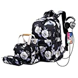 Lmeison Floral Backpack for Women Teen Girls, Charging College Bookbag with Lunch Bag and Pencil Case, Lightweight Travel Daypack for Work, 14inch Laptop Bag for School, Black
