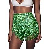 Zoestar Boho Sequin Tassel Hip Scarf Multilayer Belly Dance Belt Dance Performance Skirt for Women and Girls (Green)