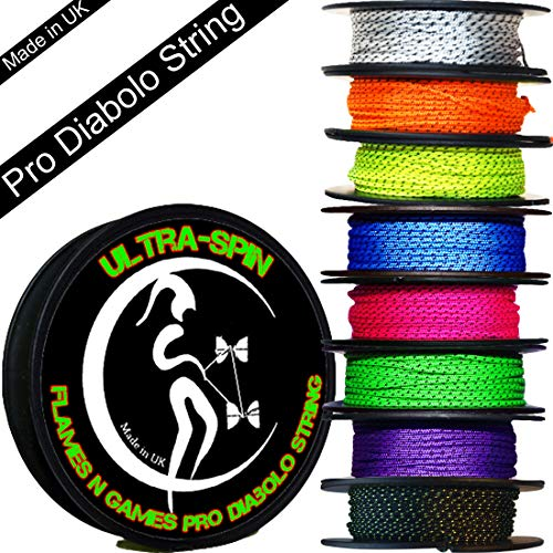 ULTRA-SPIN Pro Diabolo String 10m Reel (Choice of Colors) Performance, High Speed Diablo String for all Diabolos. (Blue)