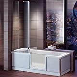 Badewanne mit Tür, Seniorenbadewanne 180x80x57,5cm mit Duschkabine,Wannenschürze und Ablauf/Sifon, Ausführung RECHTS
