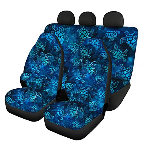 JOAIFO Navy Blue Sea Turtle Print Car Seat Covers Set of 4 Washable Polyester Car Interior Decoration Ocean Animal Design Covers Fit for Most of Van Truck Auto