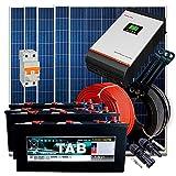 Kit Solar 24V 1.250W / 6.250W Día / 5 Paneles + 4 Baterías Monoblock TAB 245Ah + Inversor Multifunción 3kva con Regulador MPPT 60A