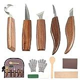 12 PCS Outils de Sculpture sur Bois avec Couteau à Crochet Couteau à Bois Couteau à Sculpter Couteau à Biseau Couteau à Cuillère pour Débutants de Menuisier Enfants Professionnels Sculpteurs