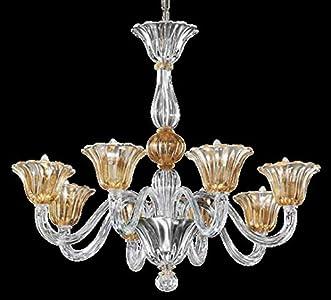 Lámpara de araña de cristal de Murano con 8 luces, vidrio transparente y oro sumergido