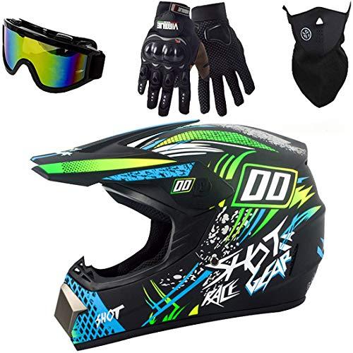 Conjunto de casco de motocross/motocicleta, casco de moto todoterreno de cara completa, casco de protección MTB para bicicleta de cross eléctrica para niños y adultos, certificación DOT
