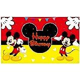 HAOORYX Mickey Happy Birthday telón de fondo de tela, decoración de fiesta de Mickey para fiestas temáticas suministros para fotografía de fiesta infantil de fondo de 72.8 x 43.3 pulgadas