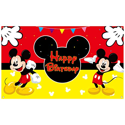 HAOORYX Mickey Happy Birthday Fabric Banner Backdrop, Mickey Party Decorations, Themed Party Favor supplies for Kids Baby Shower Photography Background -72.8 x 43.3 inch