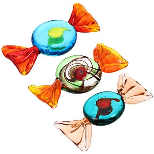 Homoyoyo - 3 caramelle in vetro ornamenti di caramelle, stile Murano vintage, centrotavola in vetro, albero Topper per Natale, festival, vacanze, festa di matrimonio basso