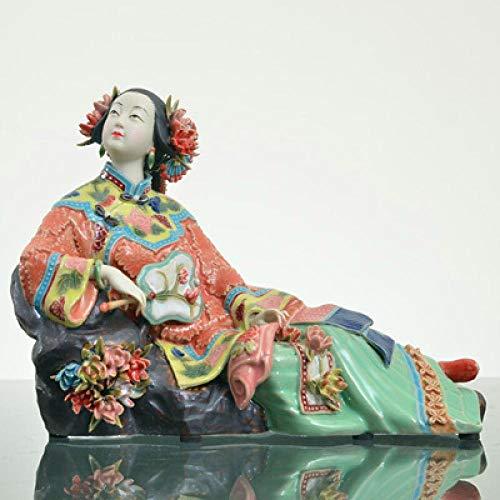 YANGHONDD Estatua De La Escultura Estatuillas Decoracion Decoraciones para El Hogar De La Estatua De La Figura Pintada del Arte Clásico De Las Señoras De Cerámica