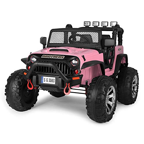 JOYLDIAS Kids Ride On Truck Large Kids Electric Vehicles Children's Electric Car w/MP3/Bluetooth Player, LED Light, 4 Wheels Suspension,Parental Remote Control, Automatic Return Function (Pink)