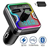 Bluetooth FM Transmitter for Car - Wireless FM Transmitter Radio, with Dual USB