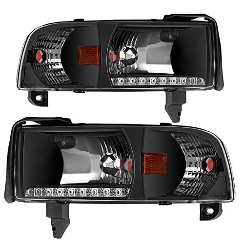 DRL Projector Headlight Assembly for 94-01 Dodge Ram 1500/94-02 Dodge Ram 2500 3500 Pickup Replacement Headlamp, Black Housing with Corner Lamps