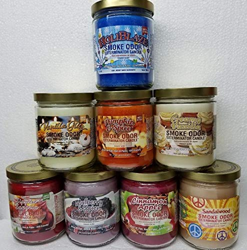 Smoke Odor Exterminator 13 oz jar Candles Set (8) Includes HoliBlaze, Vanilla Glitz, Cinnamon Apple, Pumpkin Spice, Mulberry Spice, Sippin' Sangria, Creamy Vanilla & Sandalwood.