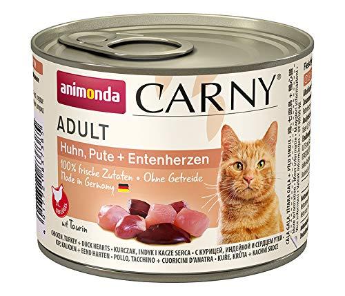 Animonda Carny Assortiment de Nourriture pour Chats Adultes Poulet Canard, Dinde + cœurs, Lot de 6(6x 200g)