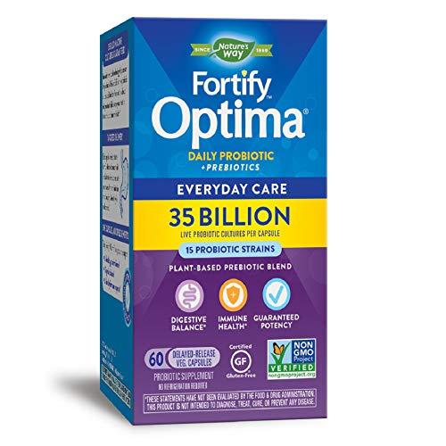Nature's Way Fortify Optima Daily Probiotic, 35 Billion, 15 Strains, Prebiotic, 60 Capsules