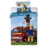 FARO Tekstylia 033 Parure de lit pour Enfant Motif Sam Le Pompier 100 x 135 cm + 40 x 60 cm