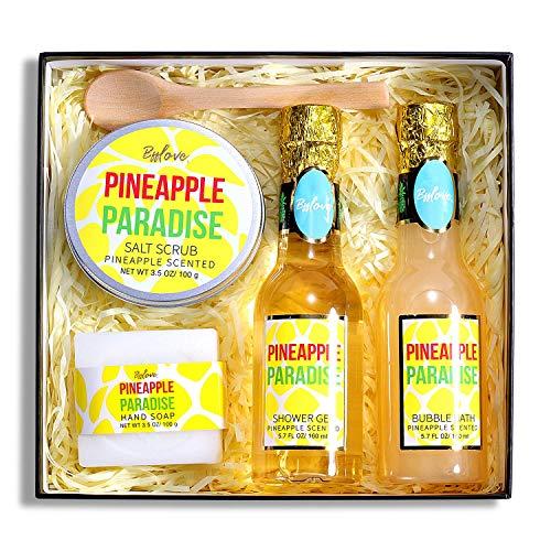 Wellness Set für Frauen, 5pc Beauty Bad Geschenkset, Geschenke für Frauen mit Ananas, Spa Sets Inklusive Schaumbad, Duschgel, Seife, Körperpeeling, Löffel. Beste Geschenk für Sie, Geschenk für Mama