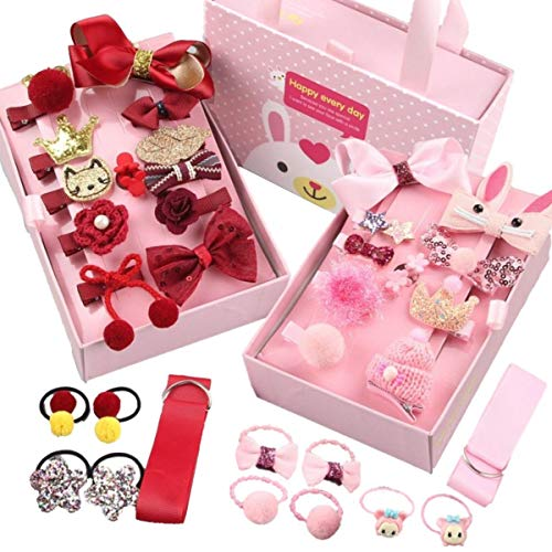 JZK 36 x Haar clips strikken baby meisje haar haarspeldjes strikken met houder lint haar banden met geschenkdoos voor Kerstmis geschenk verjaardagscadeau voor peuter baby meisje (roze en wijn rood)