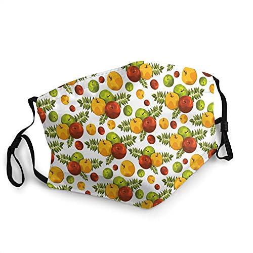 YRUI y reutilizable facial cálido a prueba de viento al aire libre moda máscara decorativa cosecha tema con fruta estilizada y hojas temporada de otoño 1 unids