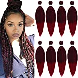 Pre Stretched Braiding Hair 8 Packs/Lot 26 Inch Long Itch Free Hot Water Setting Braids Yaki Texture Synthetic Hair Crochet Ombre Braiding Hair Extension (T1B/900#)