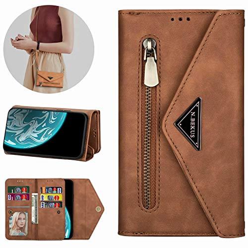 Miagon Galaxy Note 20 Plus Crossbody Reißverschluss Hülle,Brieftasche Geldbörse Handtasche mit Schulterriemen Flip Kartenhalter Ständer PU Leder Cover für Samsung Galaxy Note 20 Plus