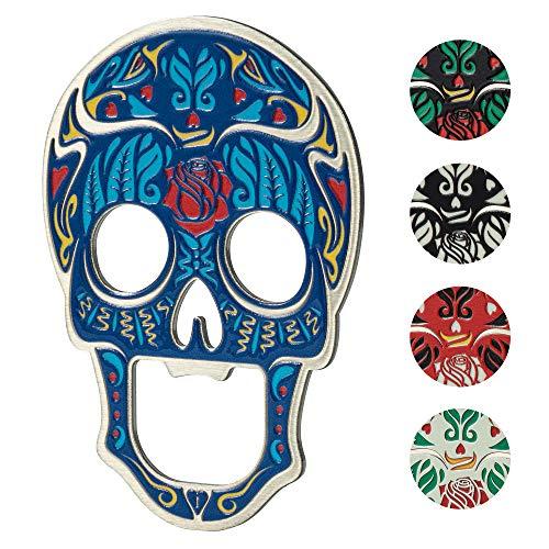 KADAX Abridor de botellas con forma de cráneo de metal, abridor de cerveza, abridor de botellas con imán, abridor de cápsulas (Azul)
