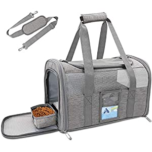Refrze Pet Carrier Airline Approved, Cat Carriers for Medium Cats Small Cats, Soft Dog Carriers for Small Dogs Medium Dogs, TSA Approved Pet Carrier for Cats Dogs of 15 Lbs, Puppy Carrier,Grey