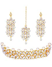 YouBella Jewellery Sets for Women Gold Plated Bridal Necklace Jewellery Set with Earrings for Girls/Women (White)