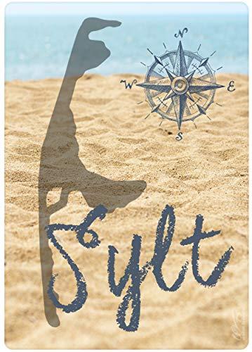 WB wohn trends Holz-Postkarte, Insel Sylt - Strand Meer Nordsee, Holz-Schild Wand-Bild Deko-Schild 15x10cm