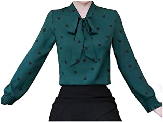 Zimaes Womens Slim Fitting Fashional Printed Blouse Bowknot Western Shirt