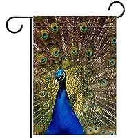 ガーデンフラグウェルカムバナーフラグヤードガーデン屋外装飾オールシーズンの垂直両面アートフラグ孔雀を開く