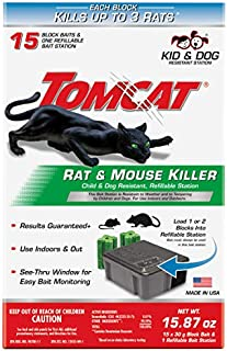 Tomcat Rat & Mouse Killer Refillable Bait Station - Child and Dog Resistant (1 Station, with 15 Baits)