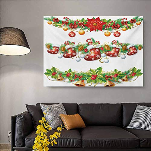 ScottDecor Christmas Wall Art Canvas Print Poster No Frame Traditional Garland Designs with Flowers Socks and Bells Mistletoe Candy Best Funny Gifts Orange Red Green L36 x H24 Inch