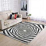 Bannihorse Alfombras 3D Swirl muy bonitas, cómodas, suaves y blancas, para dormitorio infantil, 122 x 183 cm