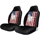 A Parsley Store Patriótico Cocker Spaniel Americano Bandera de EE. UU. Cubierta de asiento de coche de impresión universal Fundas de asiento elástico delantero negro
