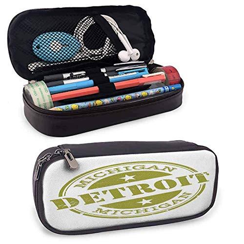 Detroit Decor Aufbewahrungstasche Tasche Etui Im Alter von Grunge Detroit Michigan Briefmarken-Design mit Sternen Tourismus Travel Desk Aufbewahrungsbox W3.5xL7.9 Olivgrün Weiß
