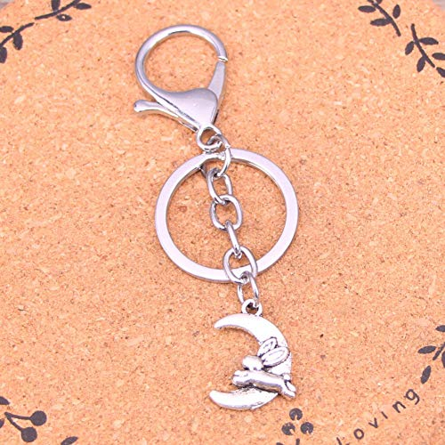 HUIQING Fashion Silver Color Alloy Metal Pendant Moon Running Rabbit Key Chain Key Ring Gift for Car Keychain Accessory
