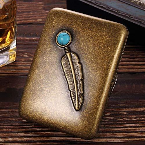 Caso Cigarrillo, Puede Poner 16 Cigarrillos, pitillera de Metal Personalizado, Antiguo Piedra Pluma de Cobre, A, Caso de Cigarrillos portátil (Color : B, Size : Cigarette Case)