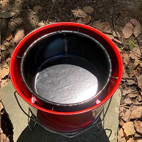 51LbdDGhcJL. SL500  - Grills Kochplatten Barbecue verdickte Garten Holzkohle-Rack Runde Barrel Herd Aussen tragbare Mini- Grillzubehör (Color : Red)