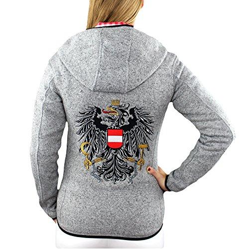 Hoamatkult Österreich Jacke Damen Strickfleece (X-Large, Grau)