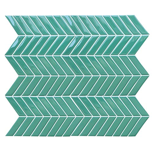 HyFanStr Peel and Stick Wall Tiles Backsplash for Kitchen, Self Adhesive Waterproof Green 3D Tile Stickers for Bathroom, Subway Stick On Tiles Splashback (Pack of 4)
