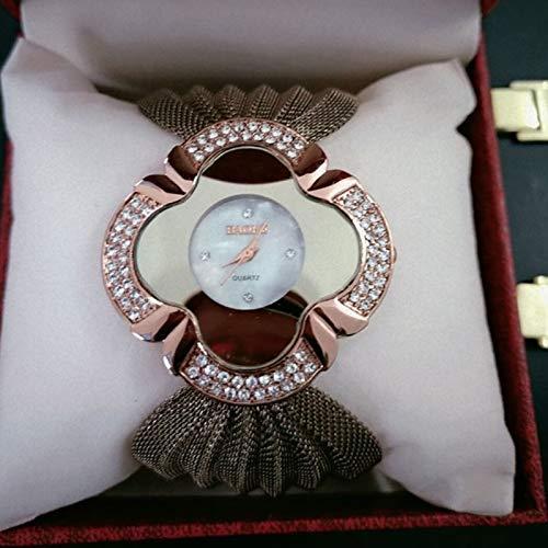 G-rf 2 PCS-Blumen-Form Spiegel Dial Diamant-Gitter Bügel-Quarz-Uhr for Frauen (Gold) (Color : Coffee)